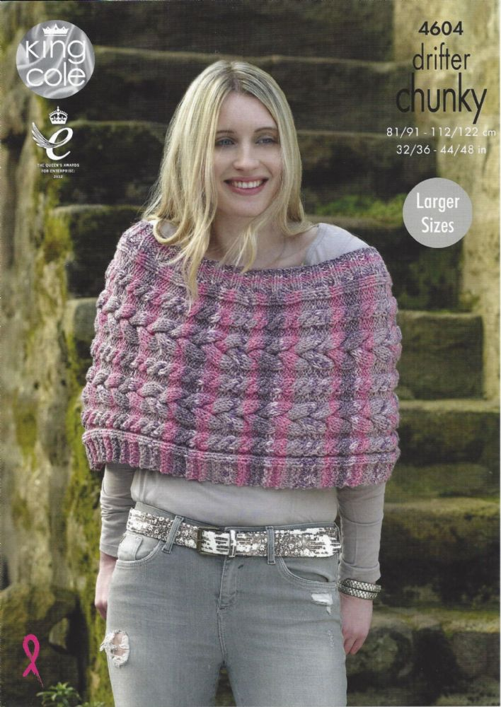 King Cole Drifter Chunky 4604 Ladies Capes Knitting Pattern
